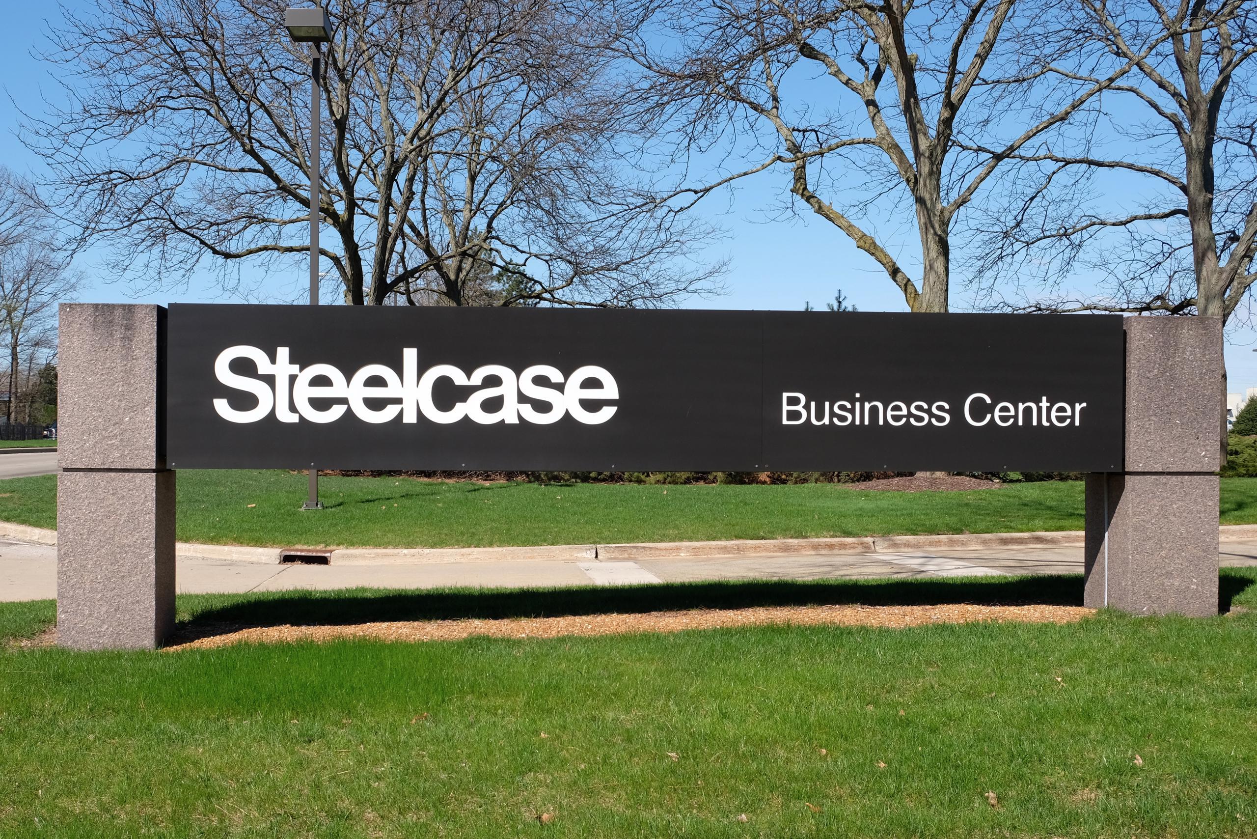 Entrance to Steelcase's corporate headquarters in Grand Rapids, Michigan.