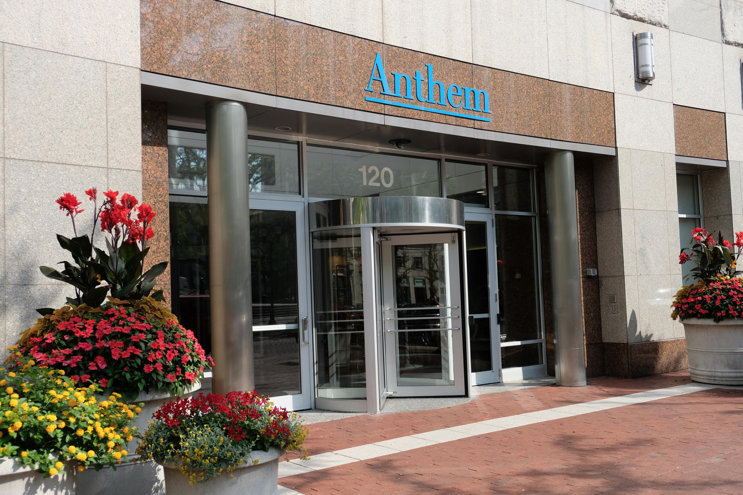 Entrance to Anthem's corporate headquarters in Indianapolis, Indiana.