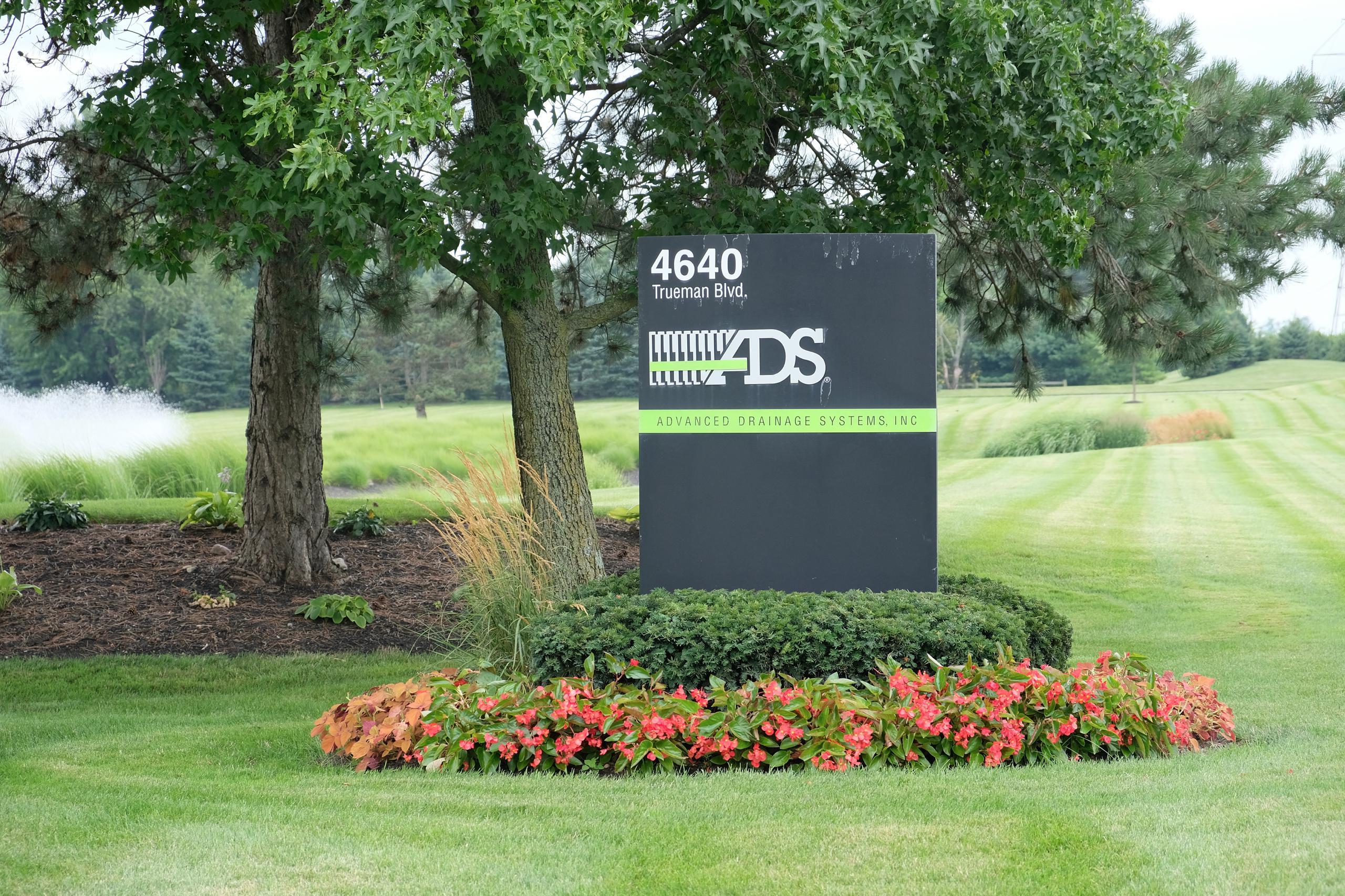 Entrance to Advanced Drainage Systems' corporate headquarters in Hilliard, Ohio.