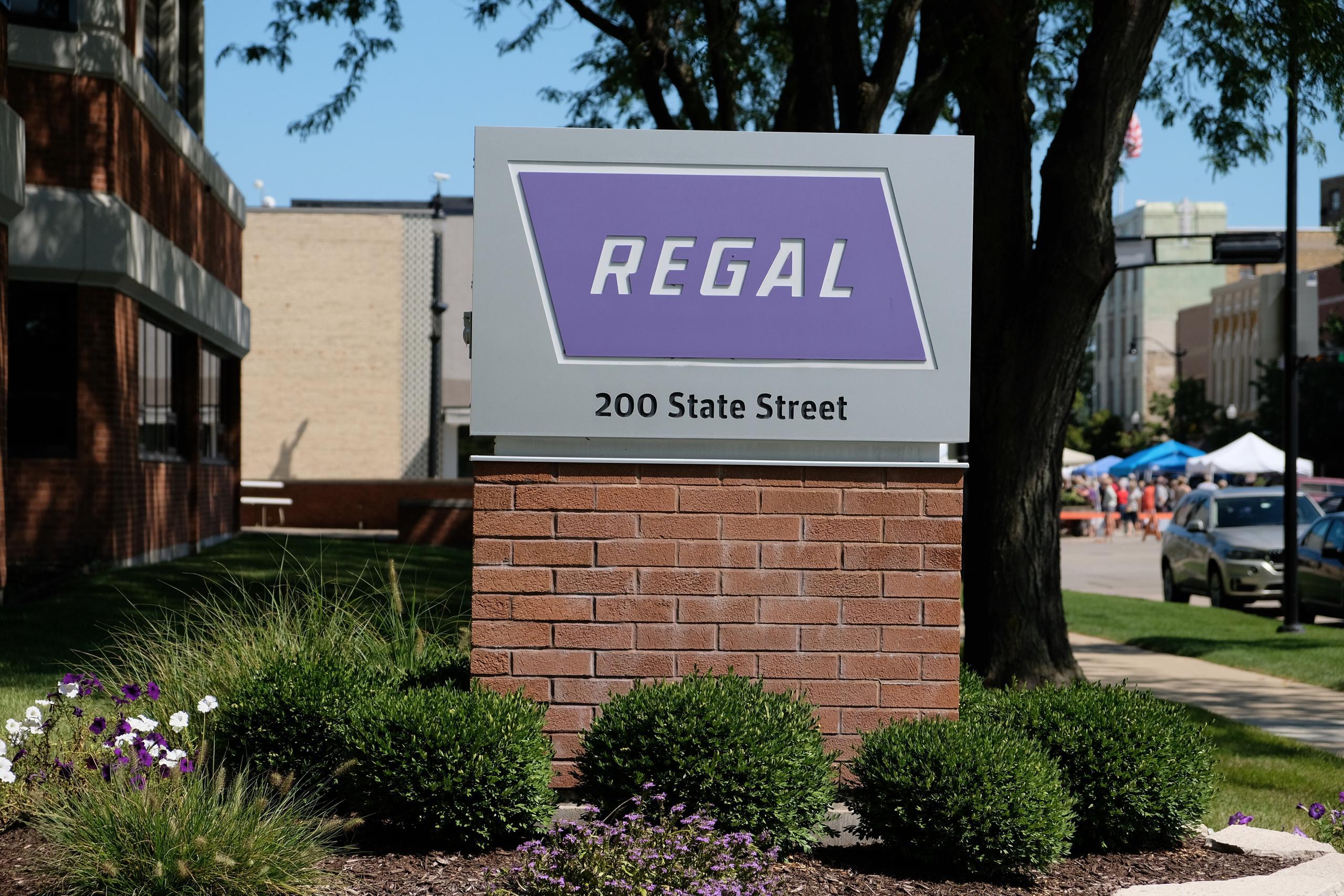 Entrance to Regal Beloit's corporate headquarters in Beloit, Wisconsin.