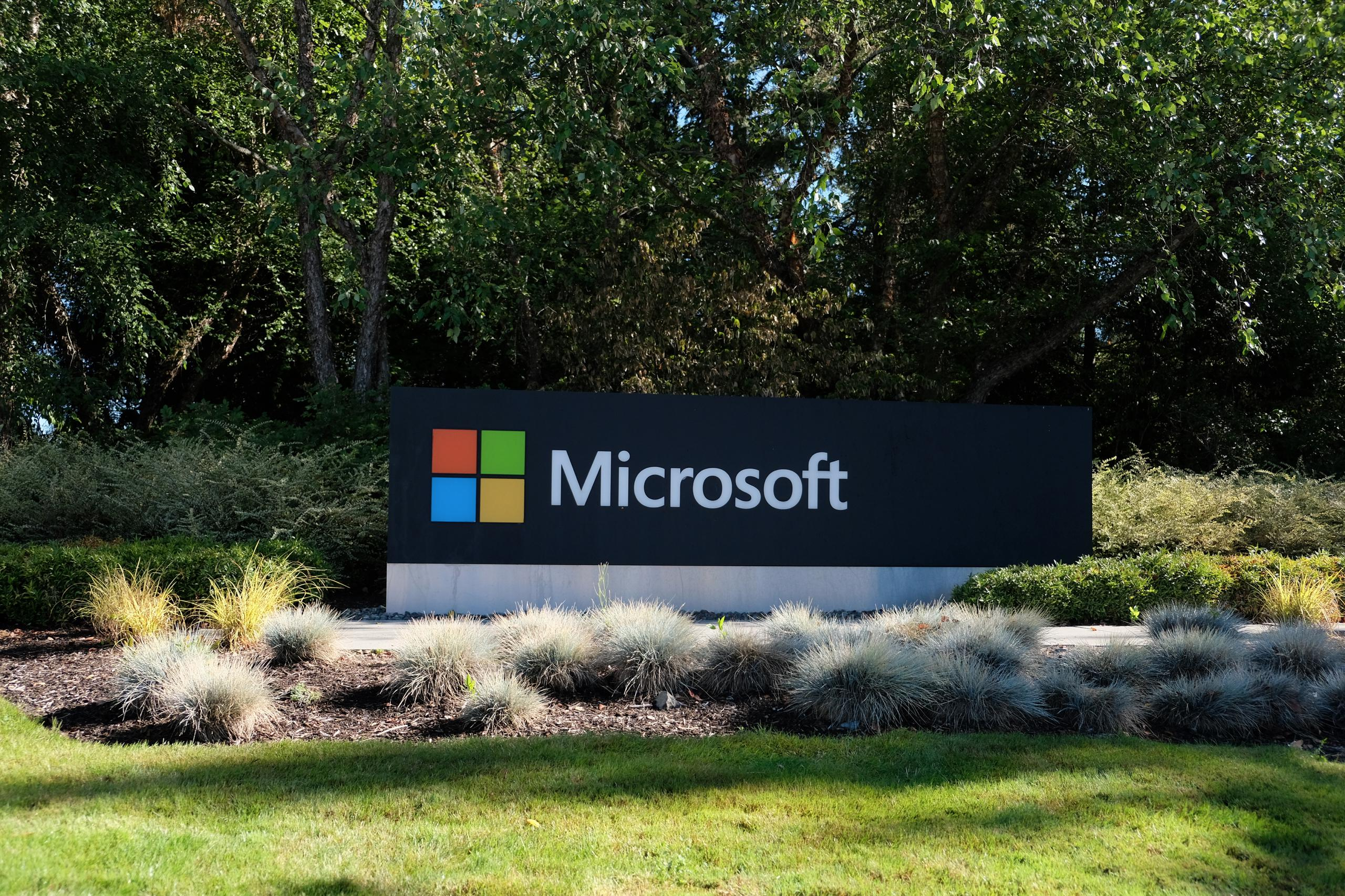 Entrance to Microsoft's corporate headquarters in Redmond, Washington.