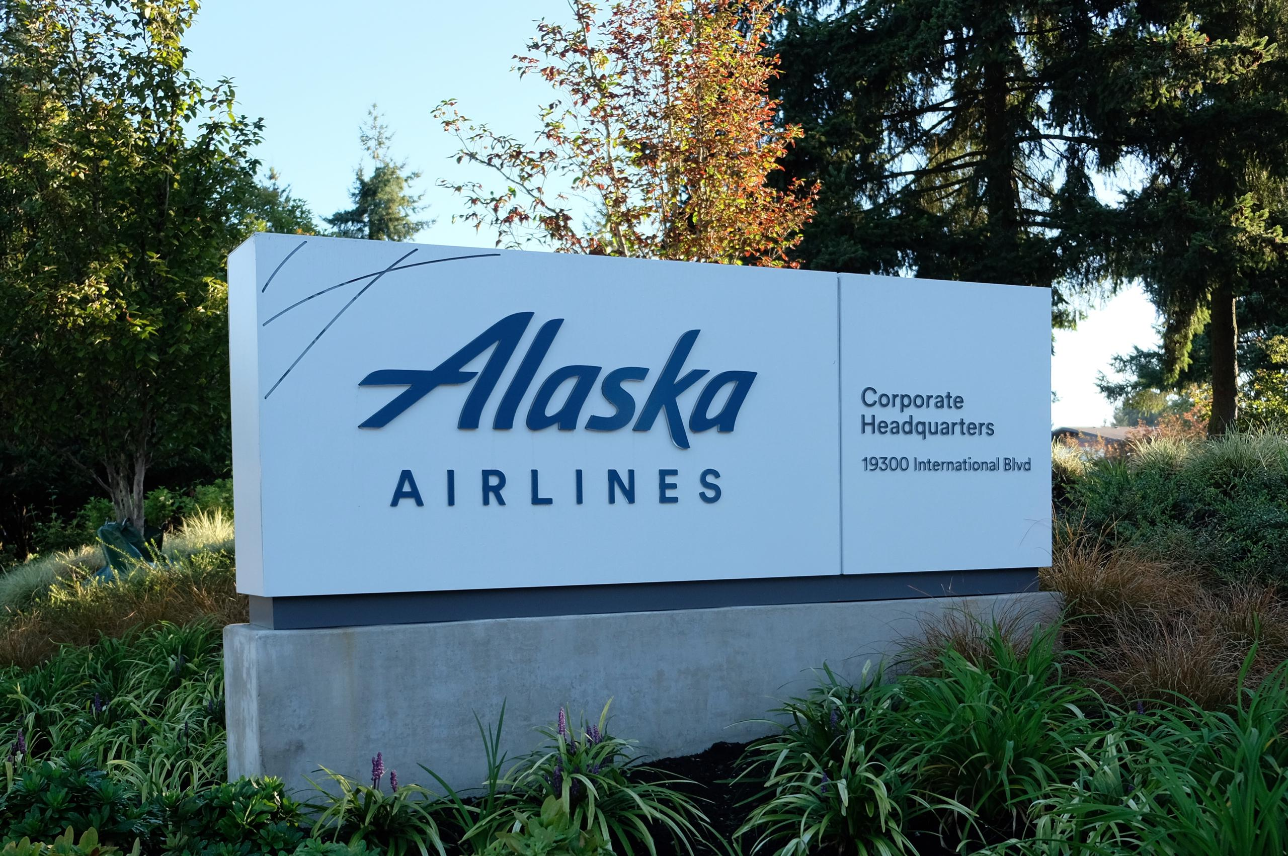 Entrance to Alaska Airlines' corporate headquarters in Seattle, Washington.