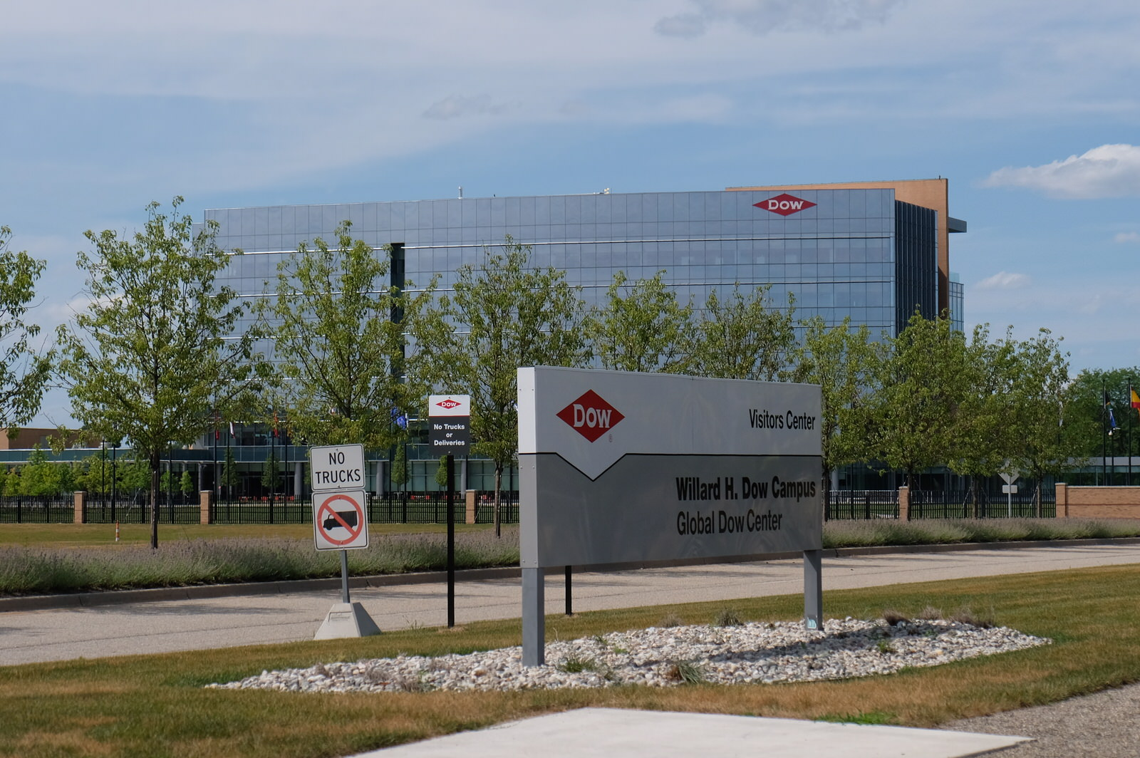 Entrance to Dow Chemical's corporate headquarters in Midland, Michigan.
