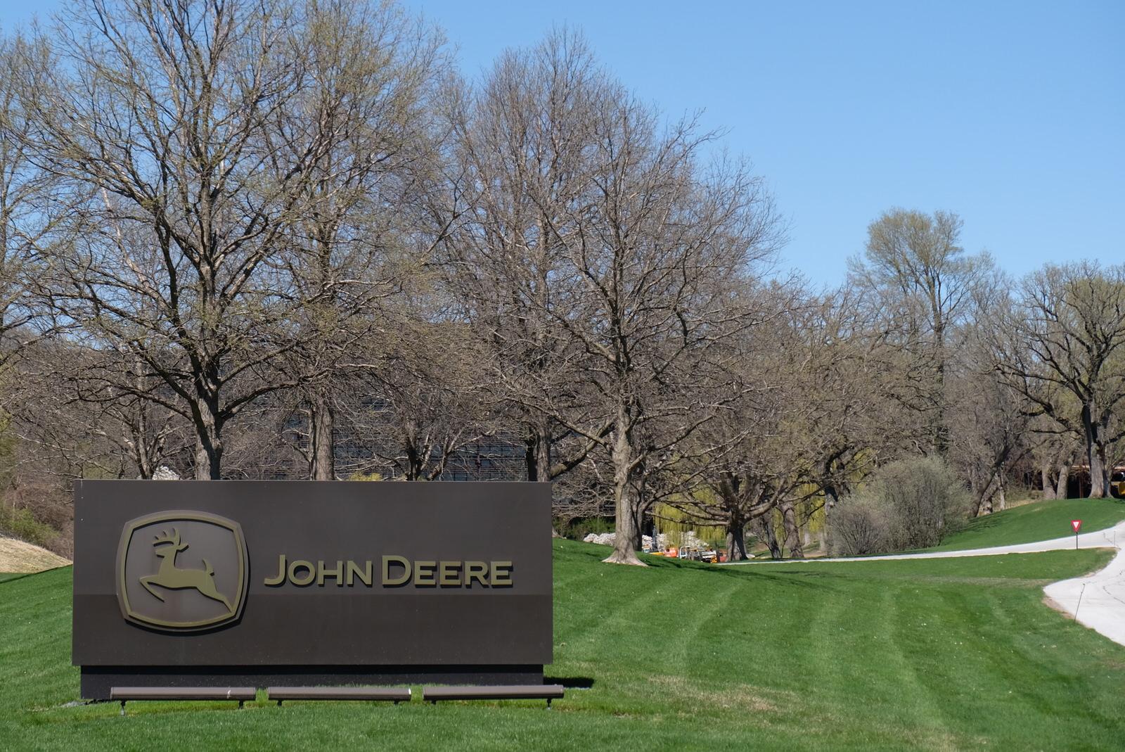 Entrance to Deere's corporate headquarters in Moline, Illinois.