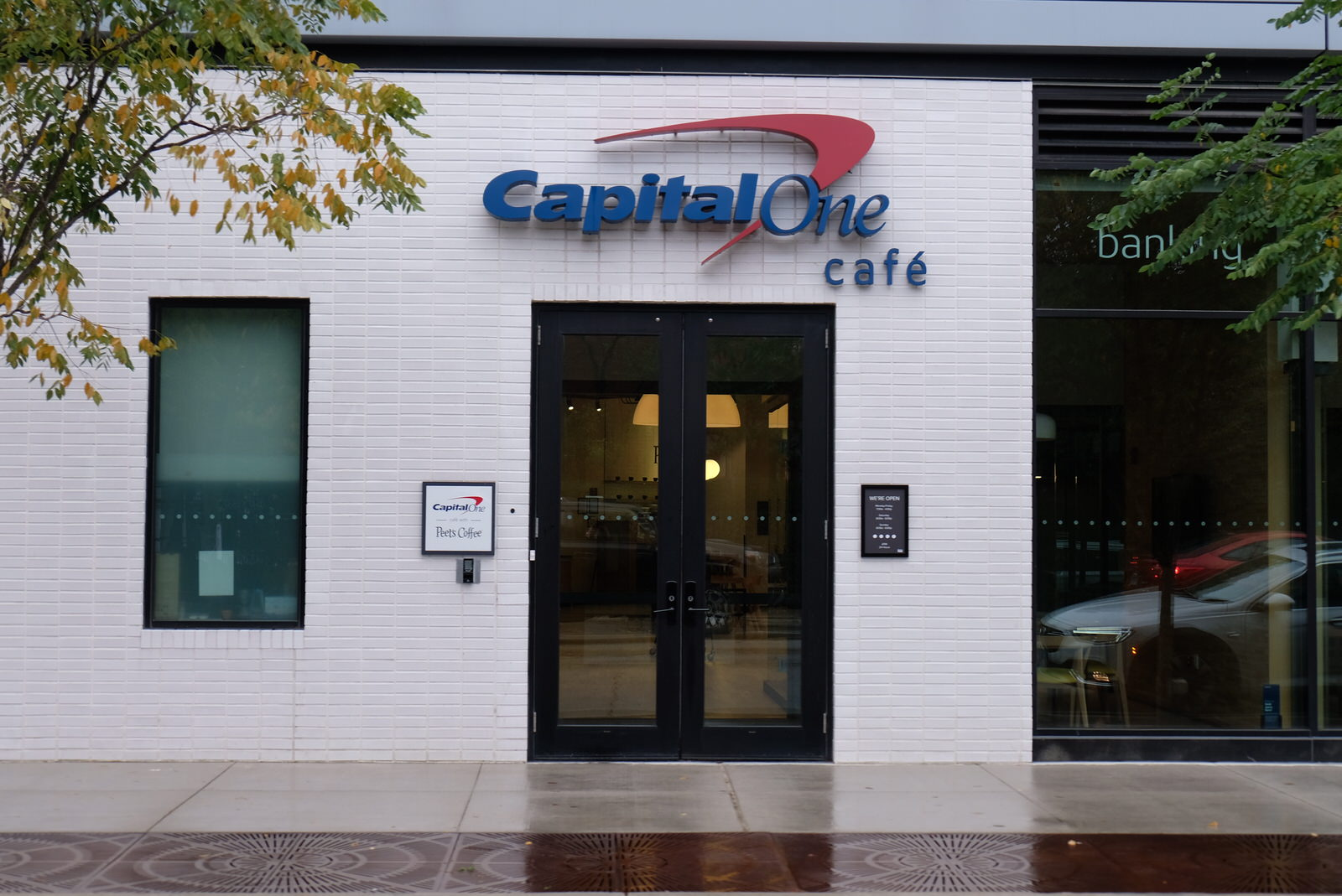 Entrance to a Capital One Cafe in Chicago, Illinois.