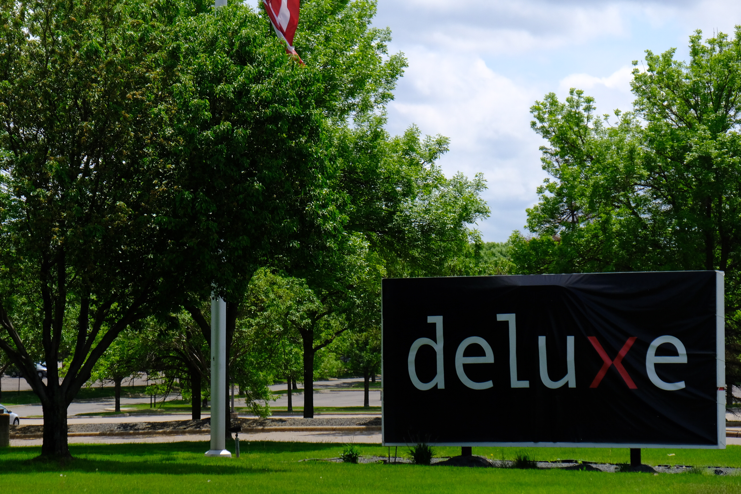 Entrance to Deluxe's corporate headquarters in Shoreview, Minnesota.