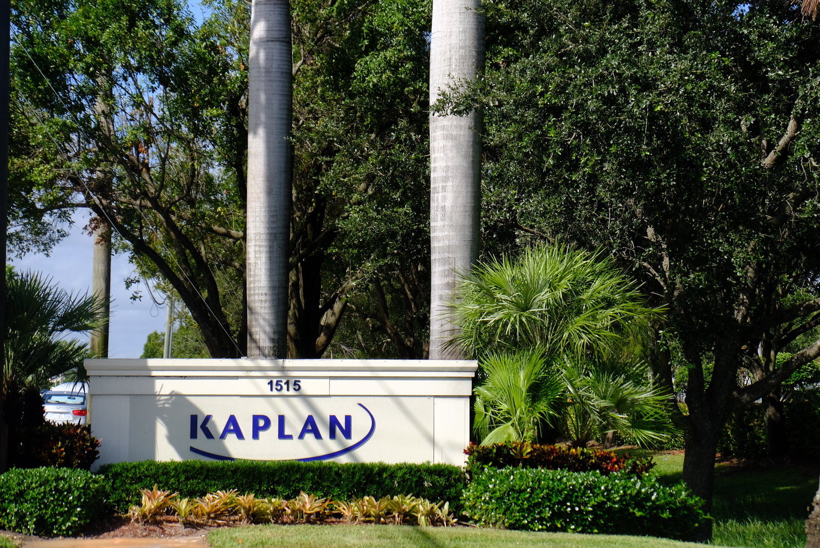 Entrance to Kaplan's corporate headquarters in Fort Lauderdale, Florida.